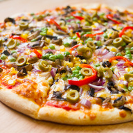Mushrooms, green peppers, onions, black olives, broccoli, tomatoes