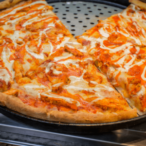 Grilled chicken, buffalo sauce, mozzarella cheese, served with blue cheese dressing