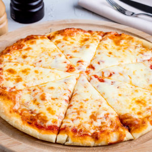 Topped with mozzarella cheese and tomato sauce. Classic cheese or create your own pizza