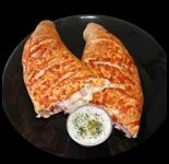 Breaded chicken, marinara sauce, mozzarella cheese